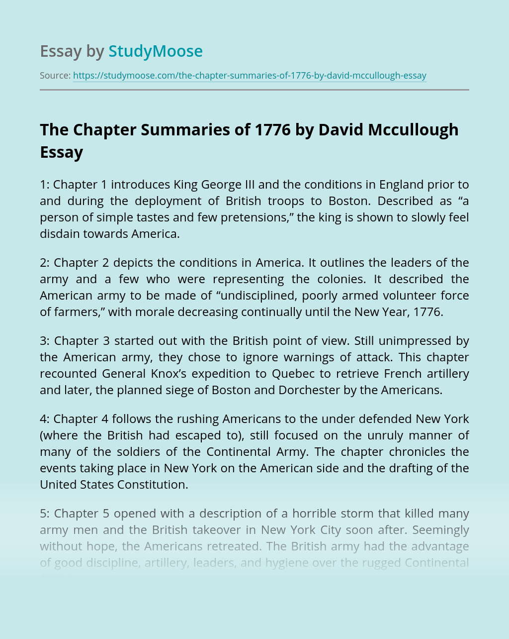 The Chapter Summaries of 1776 by David Mccullough