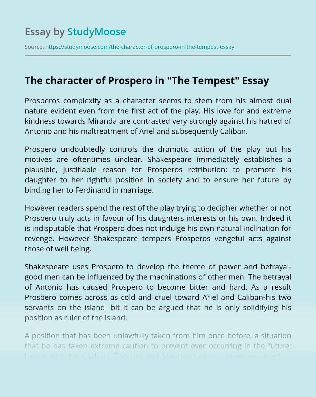 """The character of Prospero in """"The Tempest"""""""