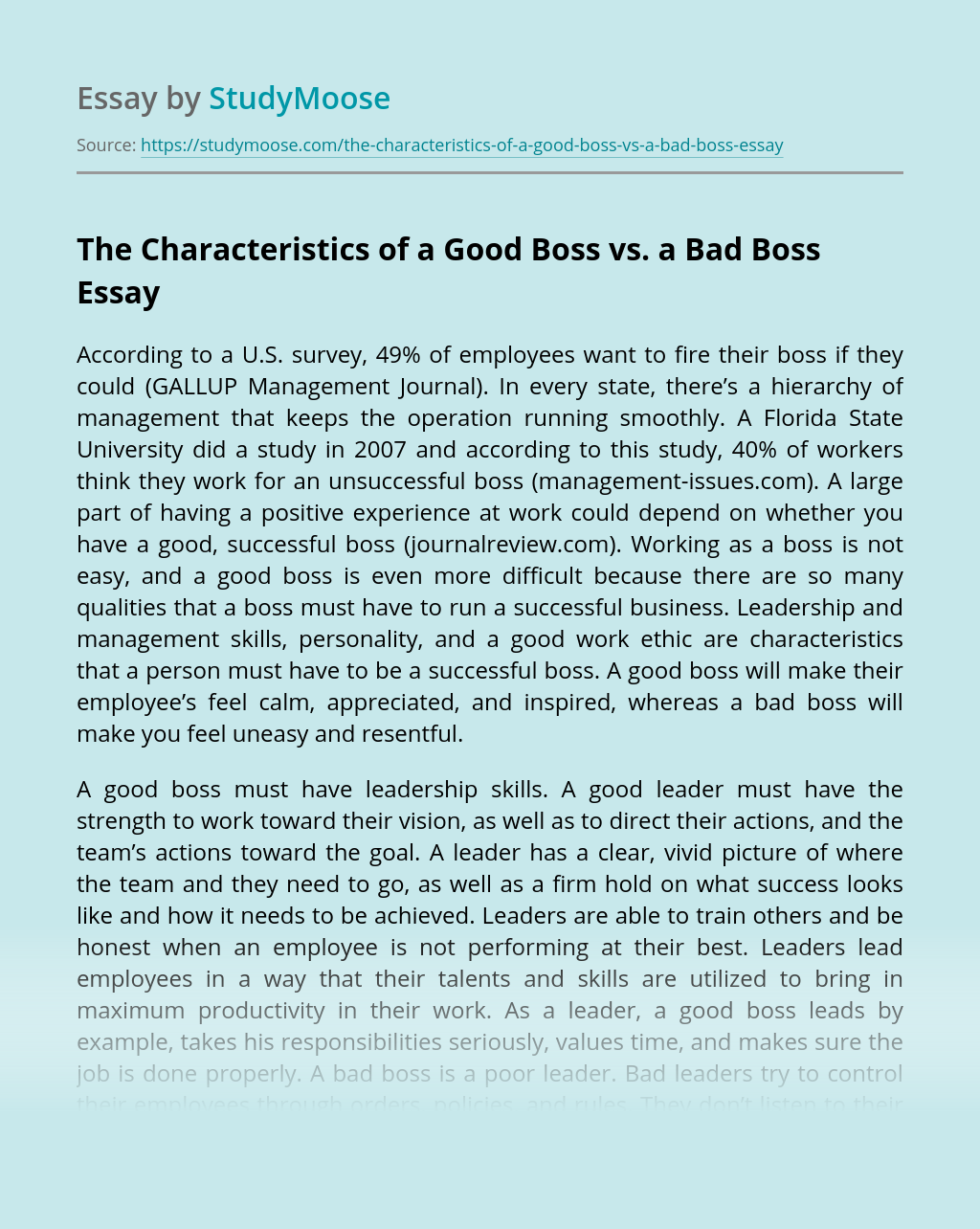 The Characteristics of a Good Boss vs. a Bad Boss