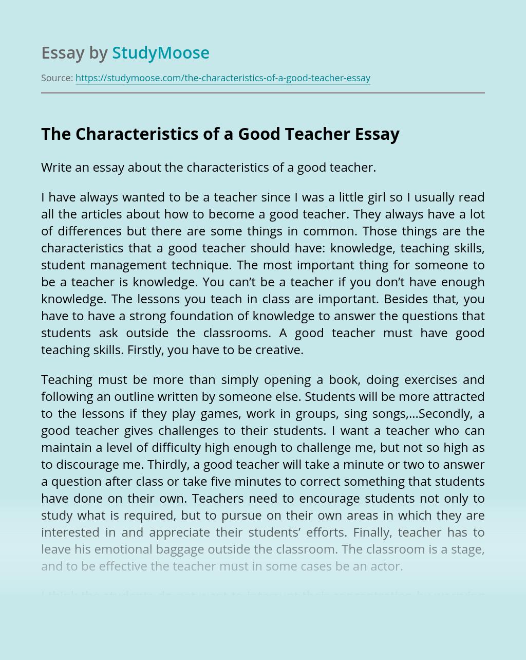Characteristics Of Good Essay Writing