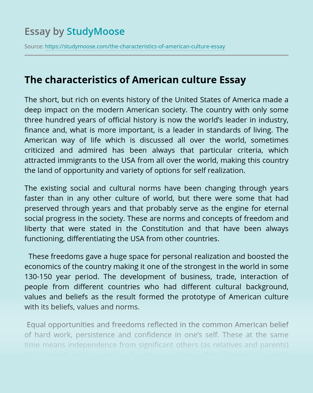 The characteristics of American culture