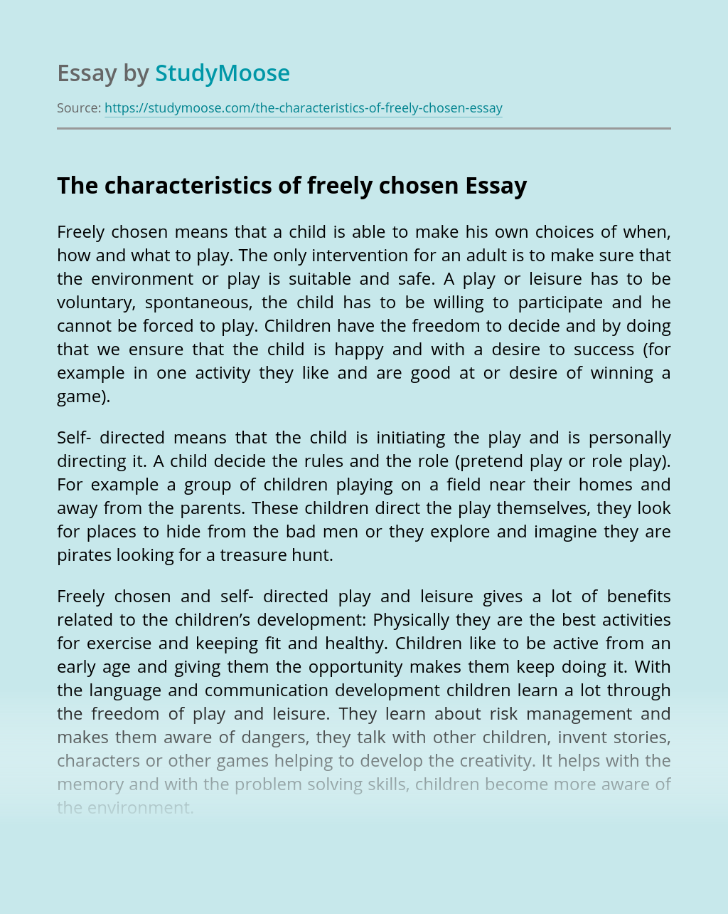 The characteristics of freely chosen