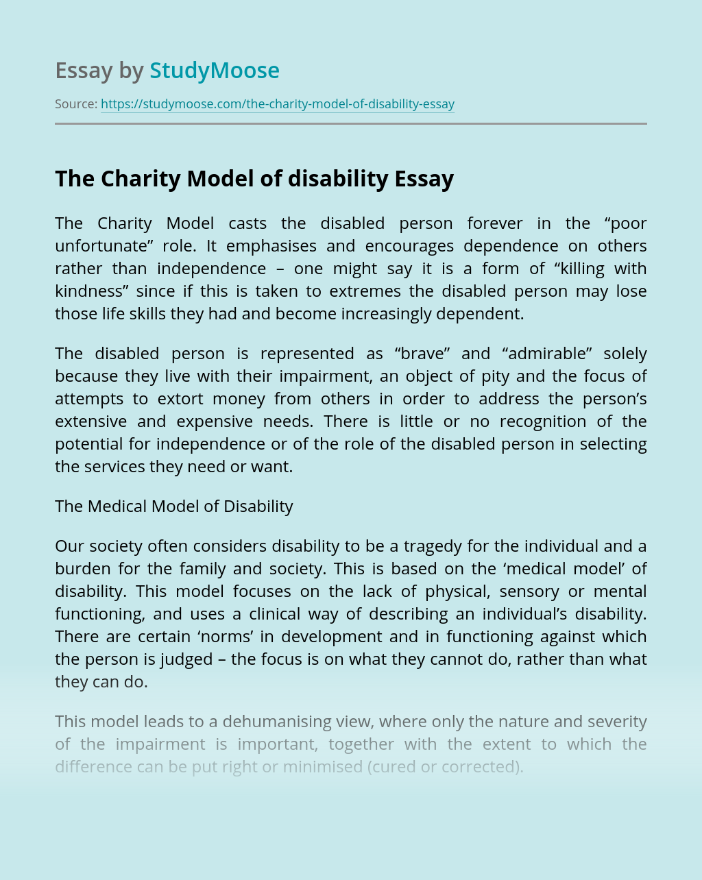 The Charity Model of disability
