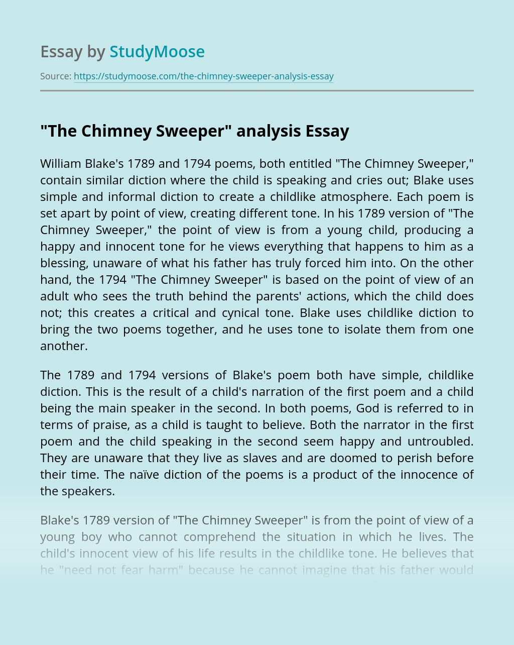 """""""The Chimney Sweeper"""" Analysis"""
