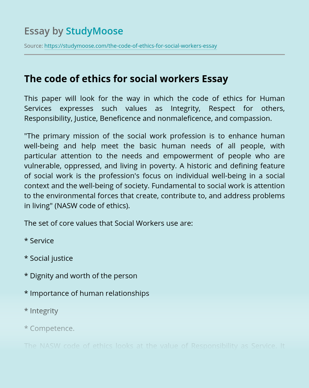 The code of ethics for social workers