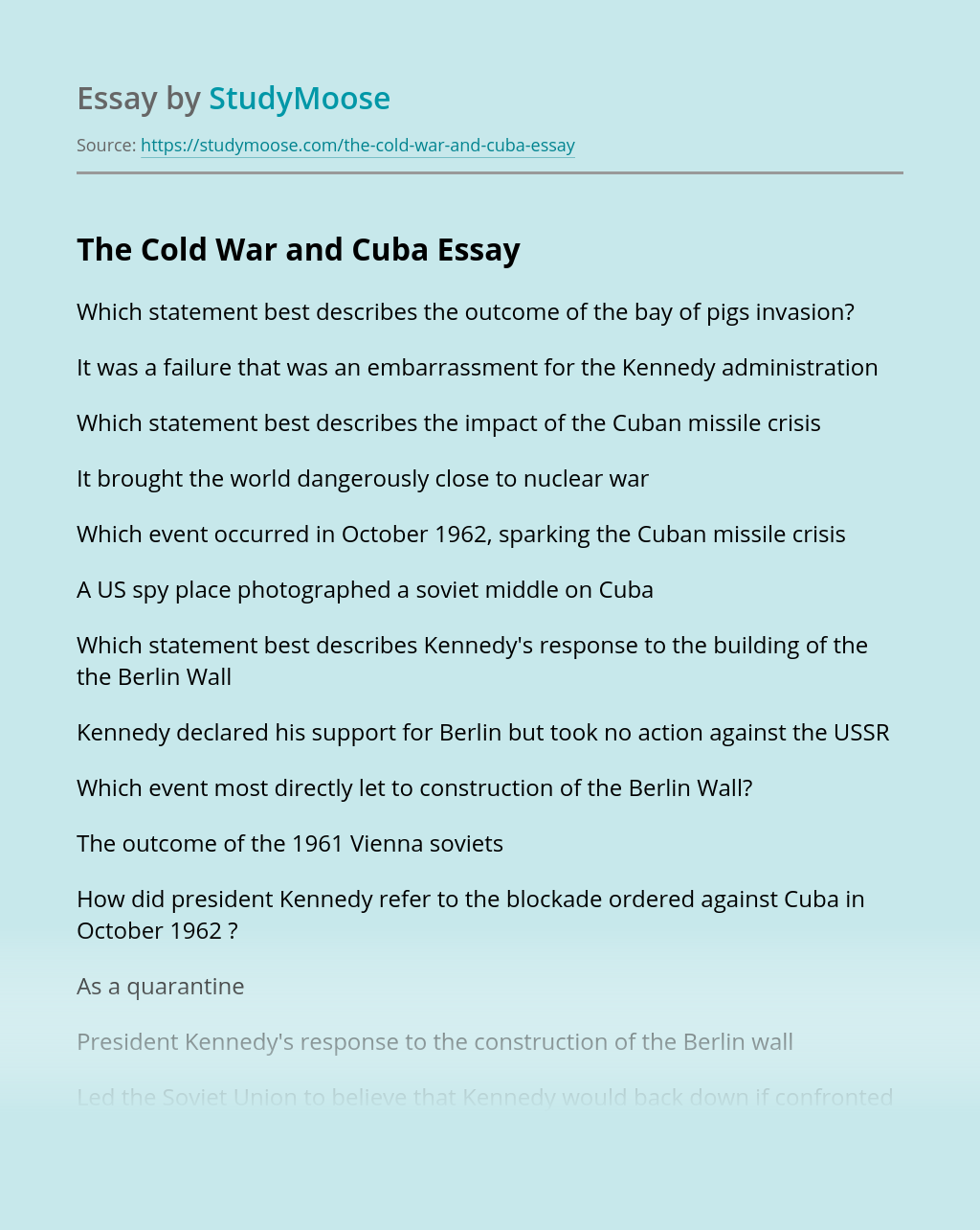 The Cold War and Cuba