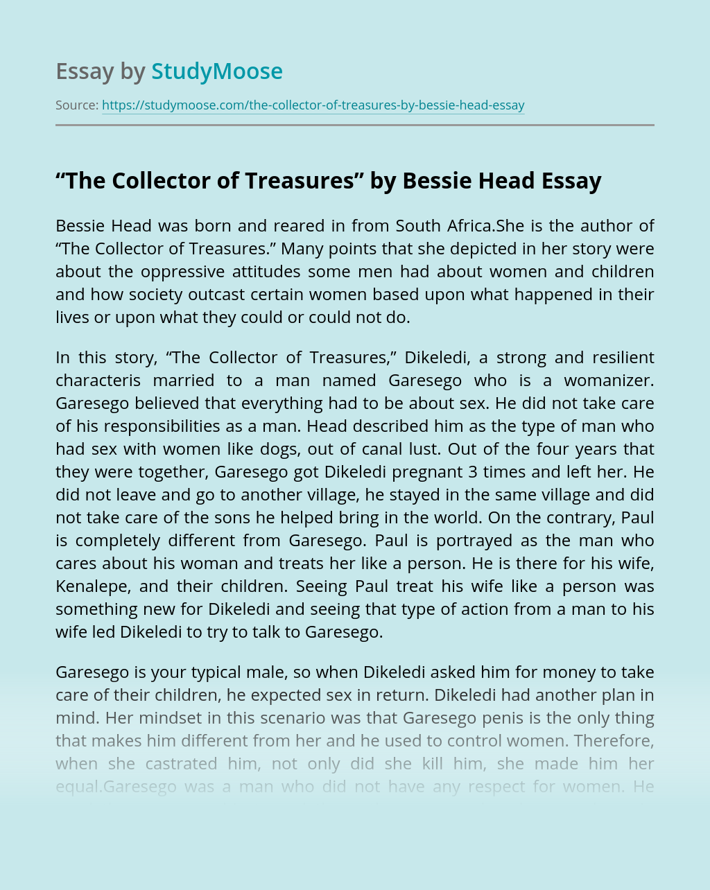 """The Collector of Treasures"" by Bessie Head"