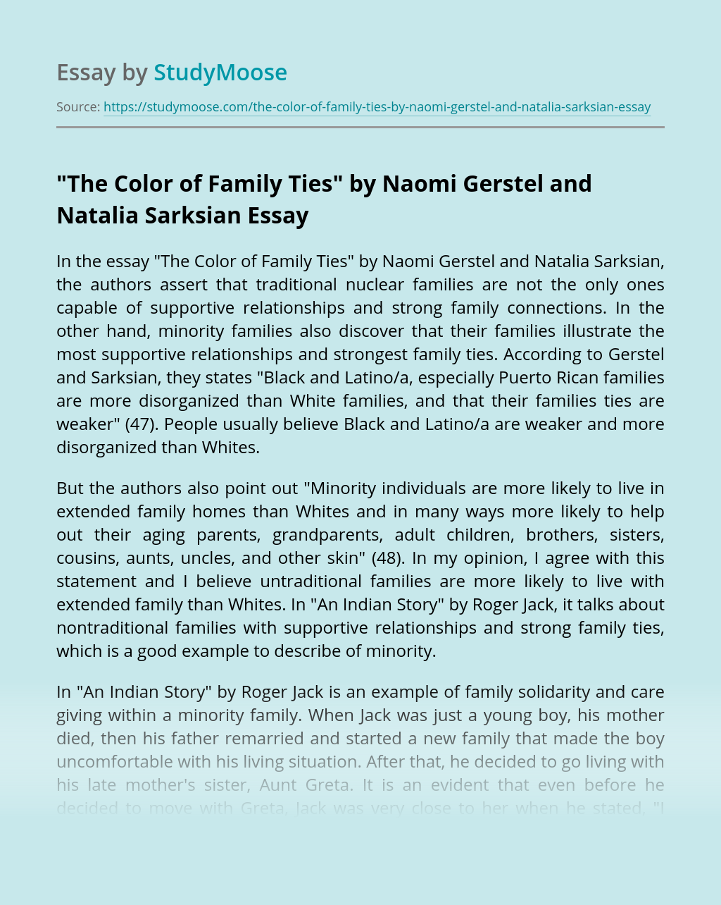 """The Color of Family Ties"" by Naomi Gerstel and Natalia Sarksian"