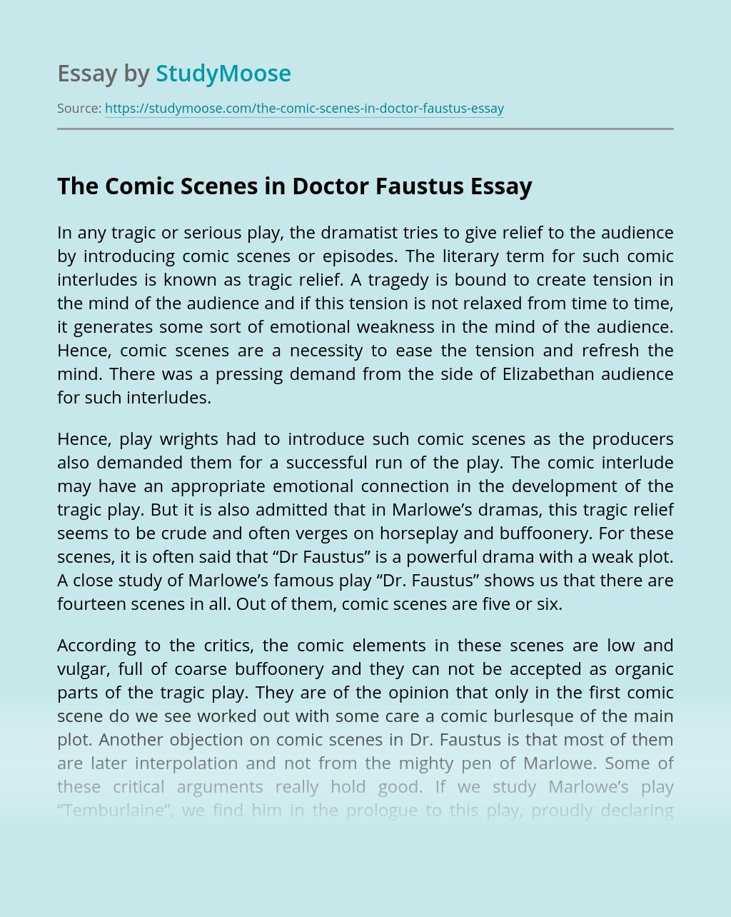 The Comic Scenes in Doctor Faustus