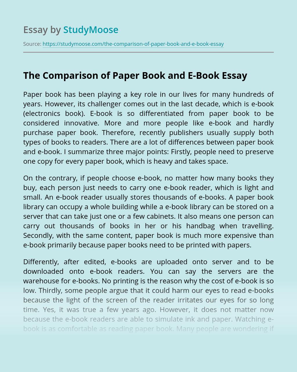 The Comparison of Paper Book and E-Book