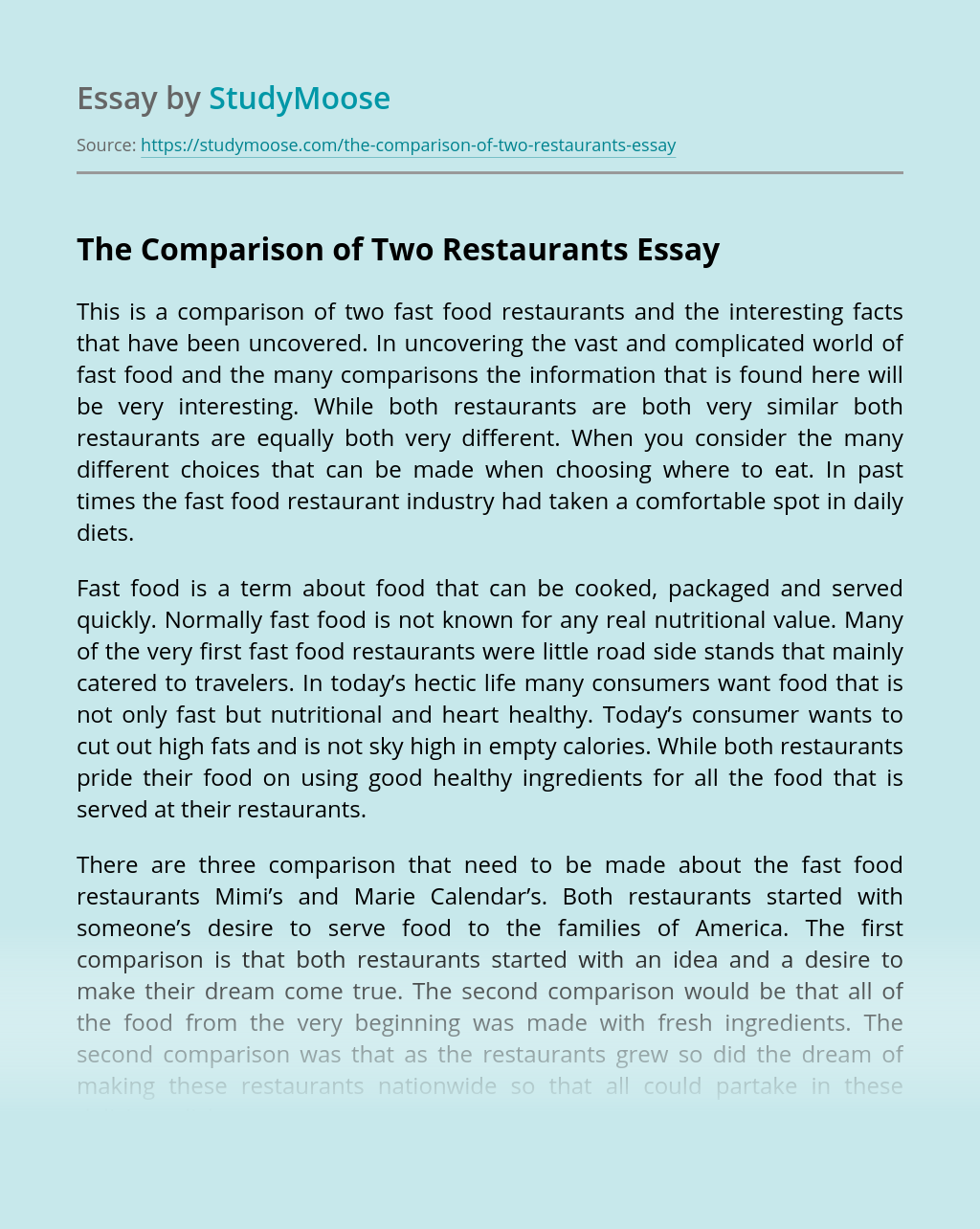 The Comparison of Two Restaurants