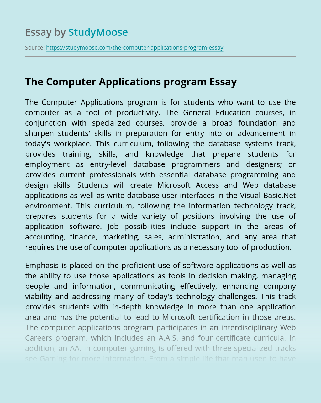 The Computer Applications program