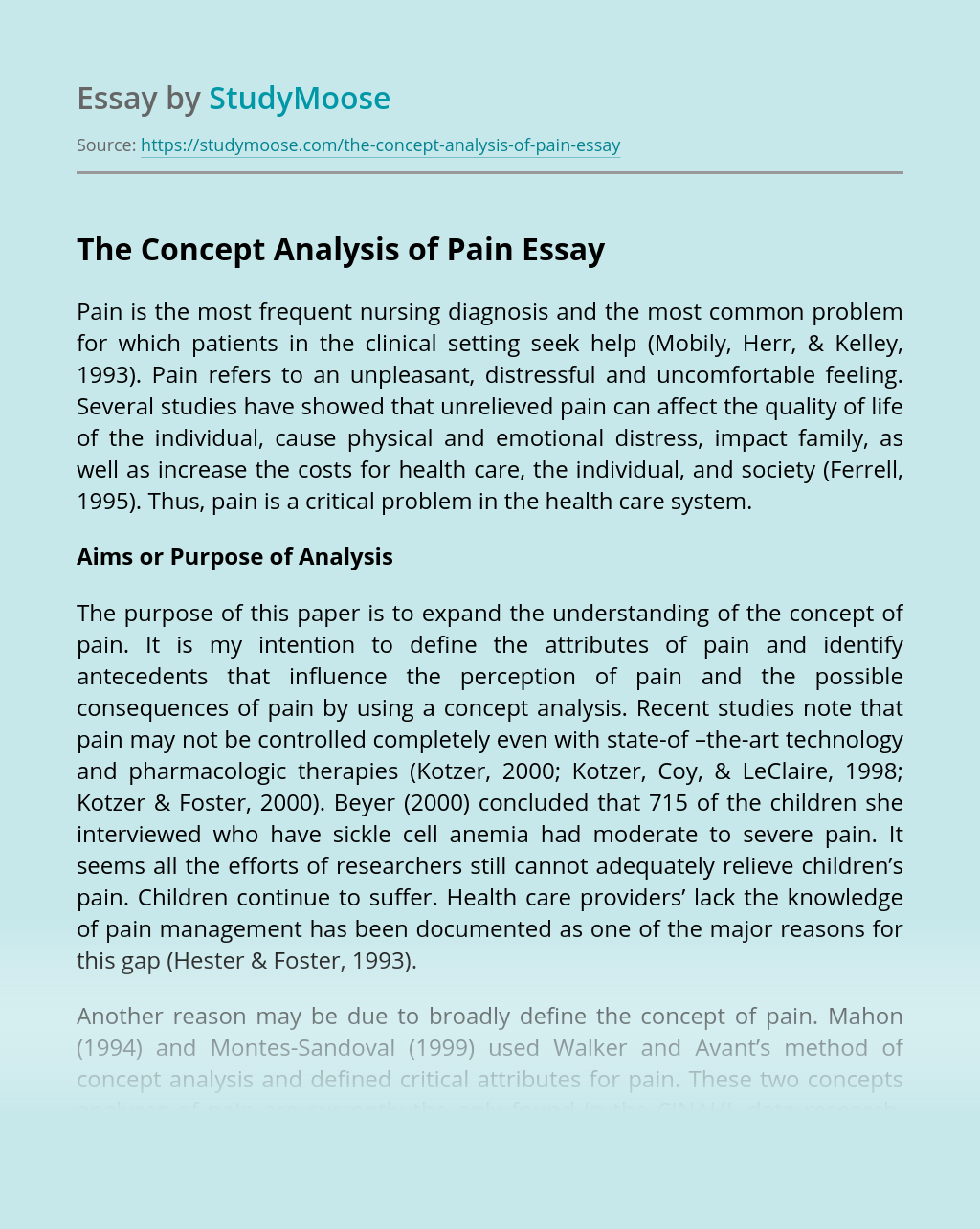 The Concept Analysis of Pain