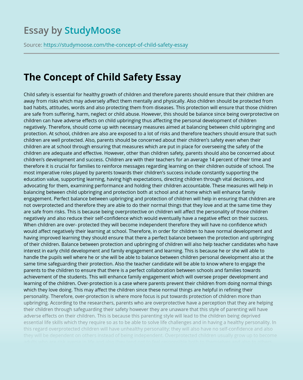 The Concept of Child Safety