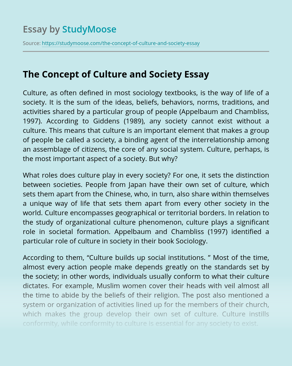 The Concept of Culture and Society