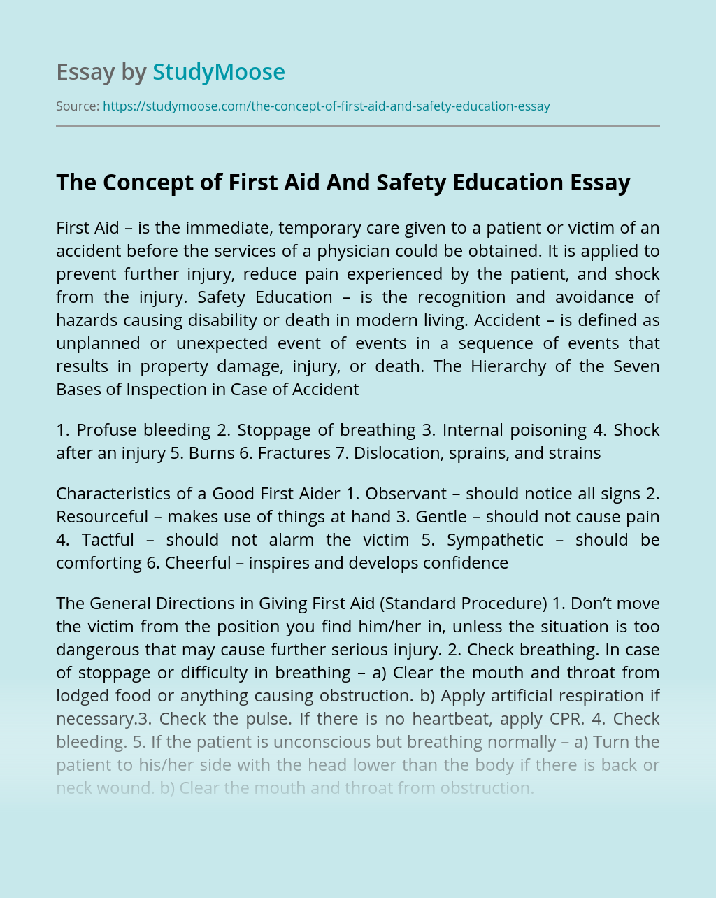 The Concept of First Aid And Safety Education