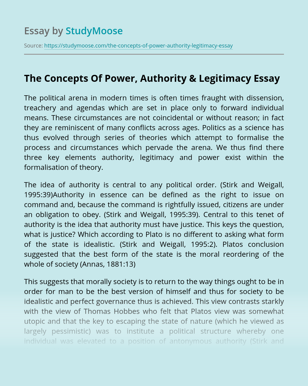 The Concepts Of Power, Authority & Legitimacy