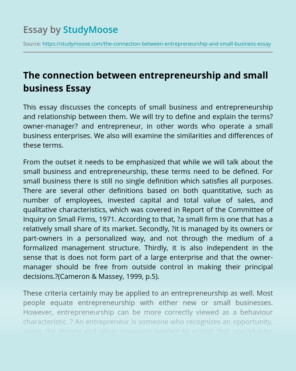 The connection between entrepreneurship and small business