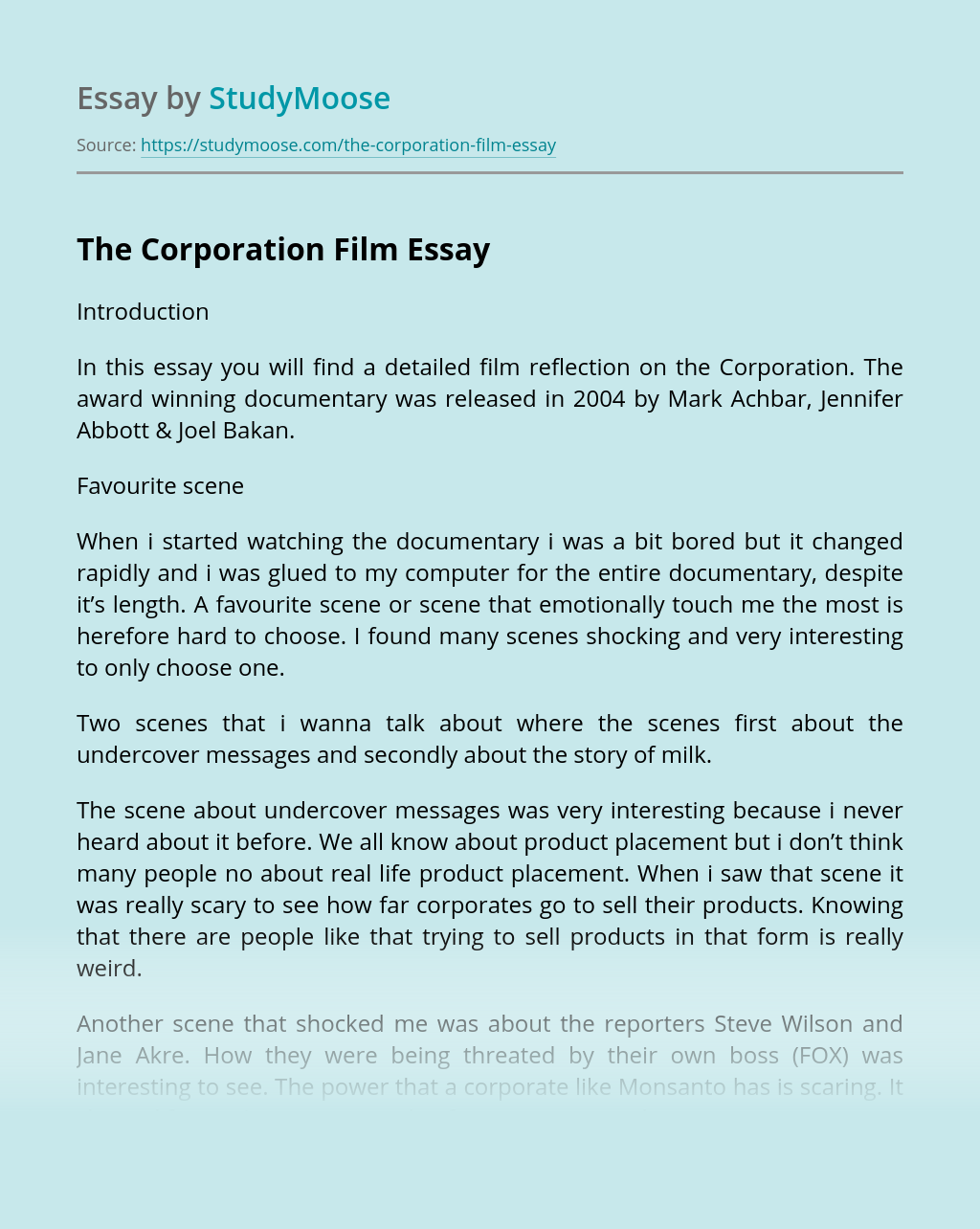 The Corporation Film