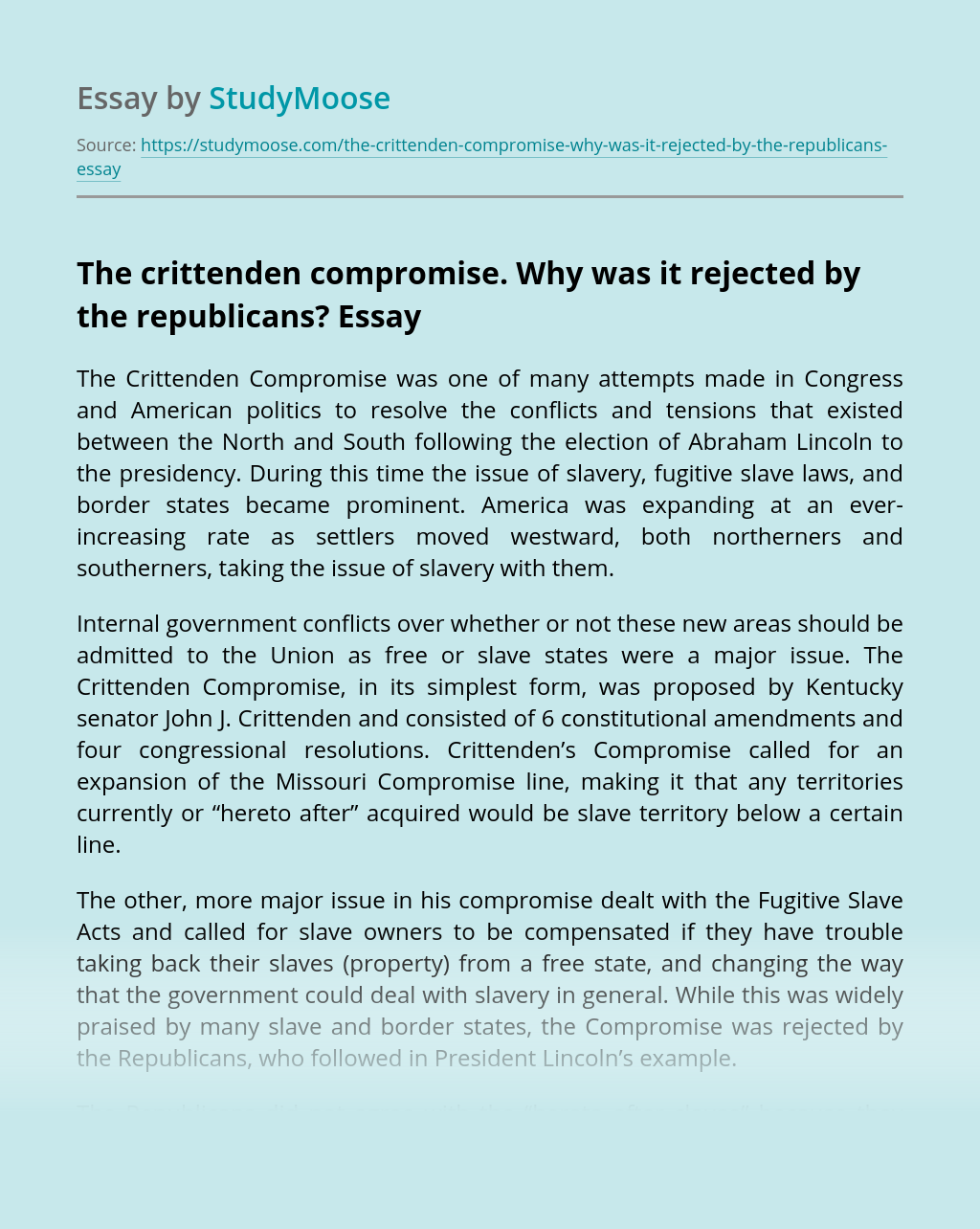 Why the Crittenden Compromise Was Rejected