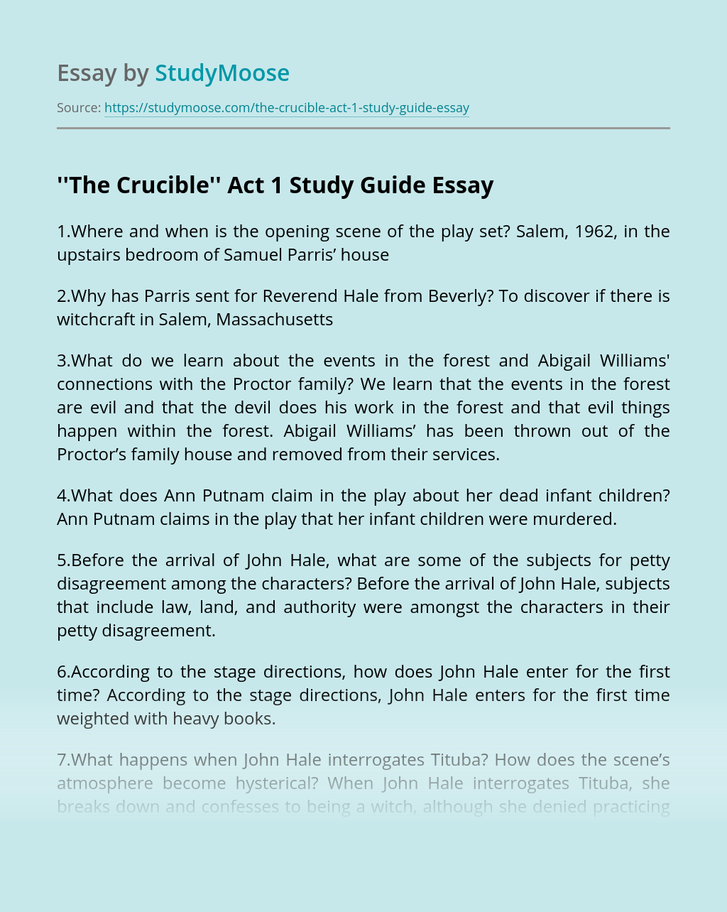 ''The Crucible'' Act 1 Study Guide