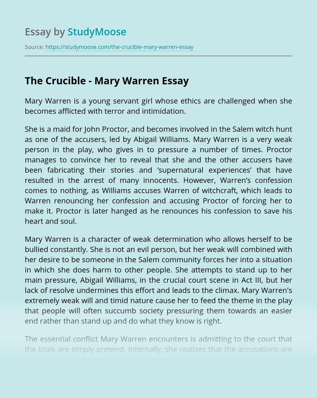 The Crucible - Mary Warren