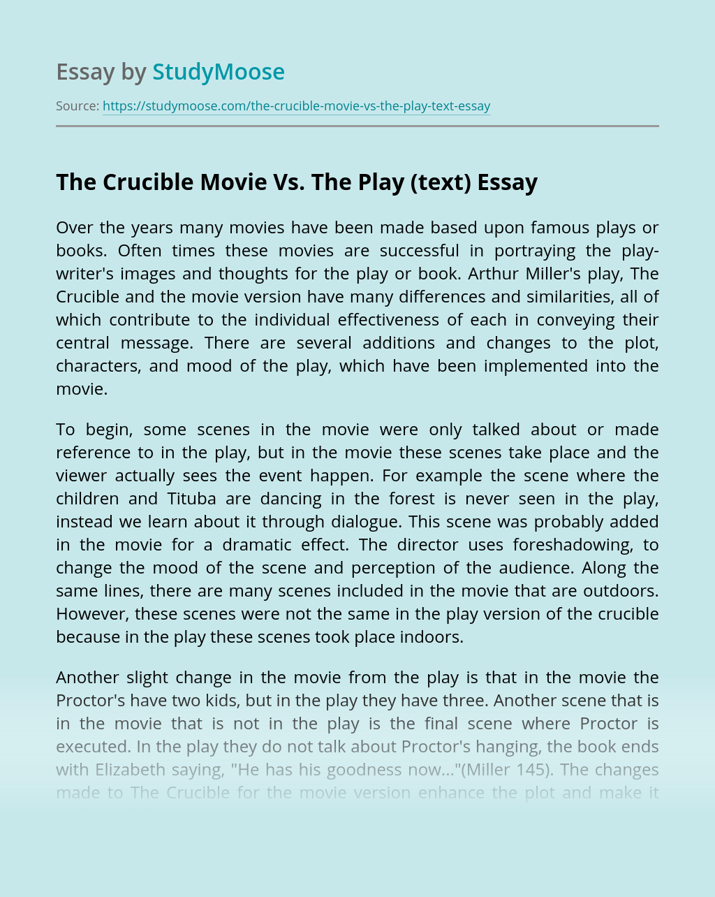 The Crucible Movie Vs. The Play (text)