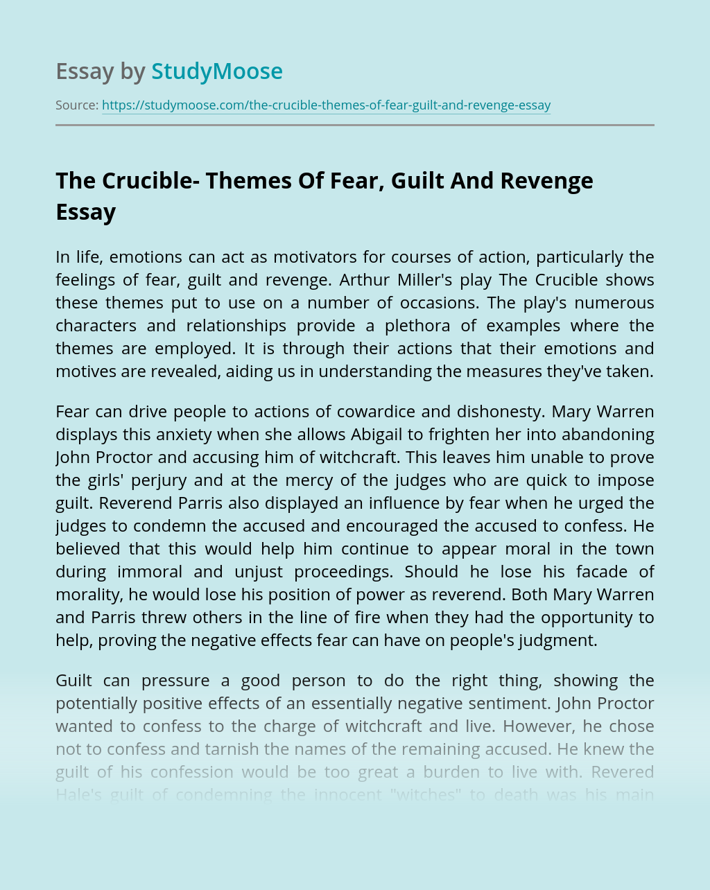 The Crucible- Themes Of Fear, Guilt And Revenge