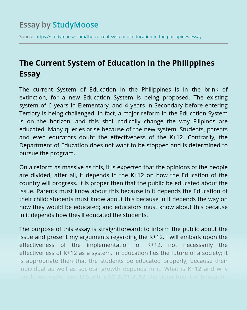 The Current System of Education in the Philippines