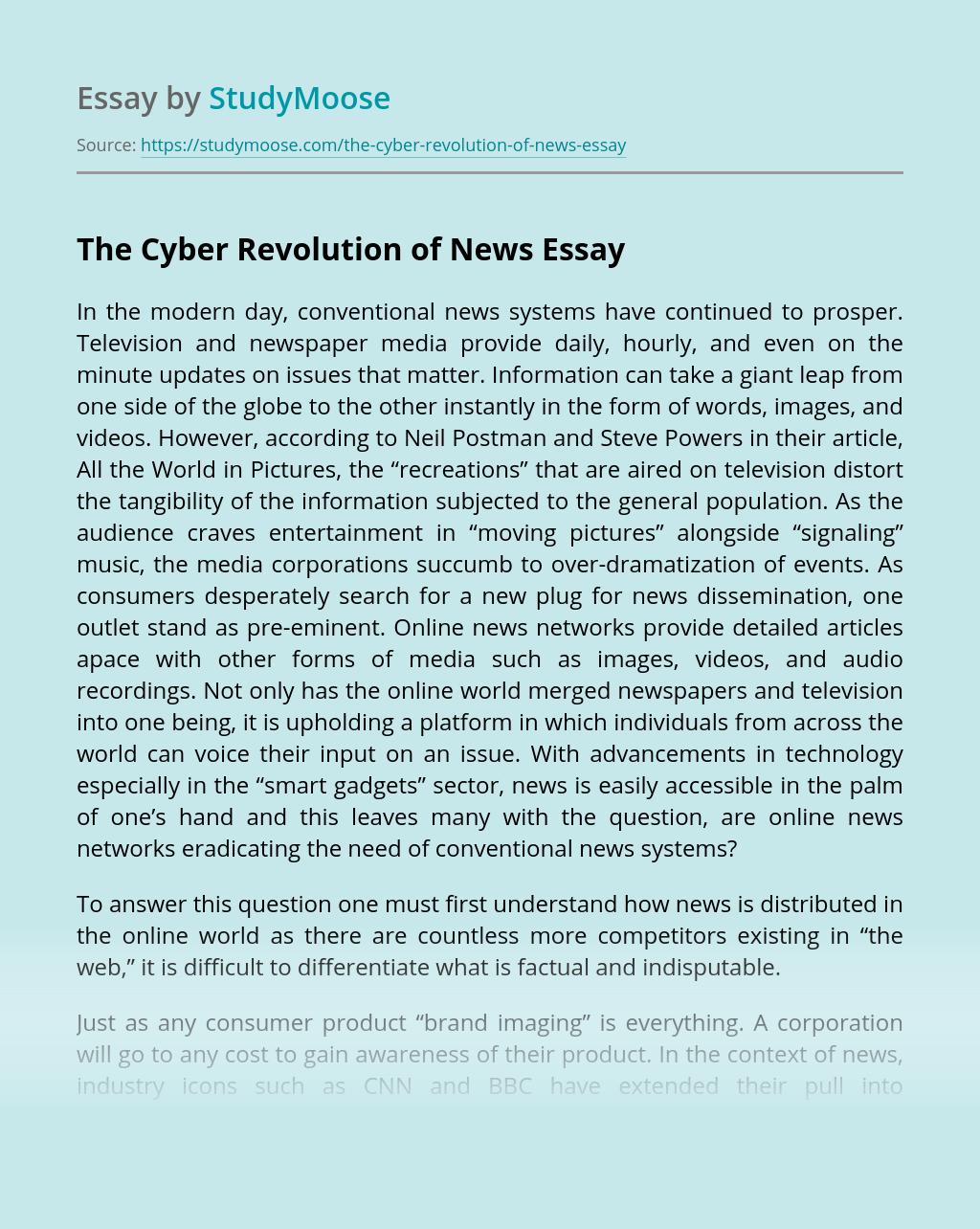 The Cyber Revolution of News