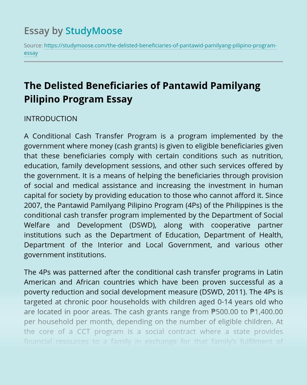 The Delisted Beneficiaries of Pantawid Pamilyang Pilipino Program