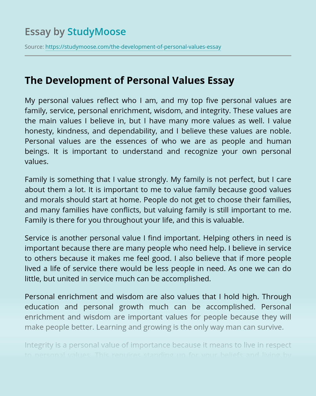 The Development of Personal Values