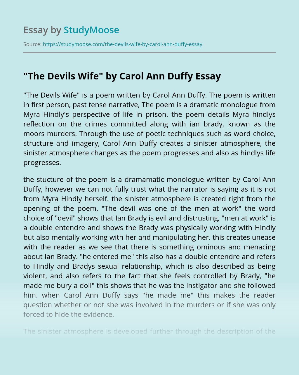 """""""The Devils Wife"""" by Carol Ann Duffy"""