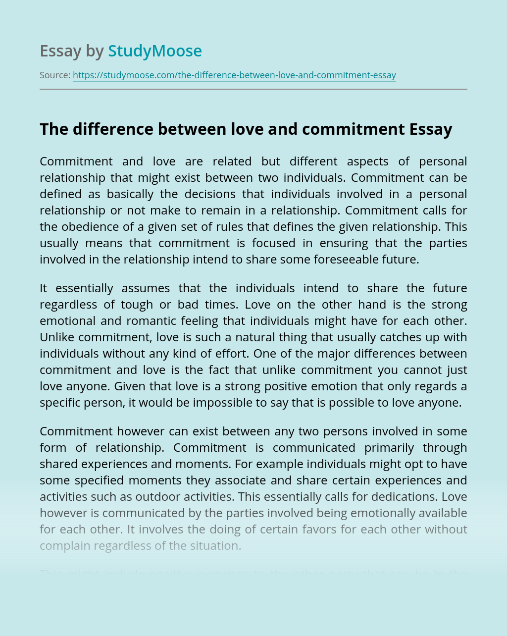 The difference between love and commitment