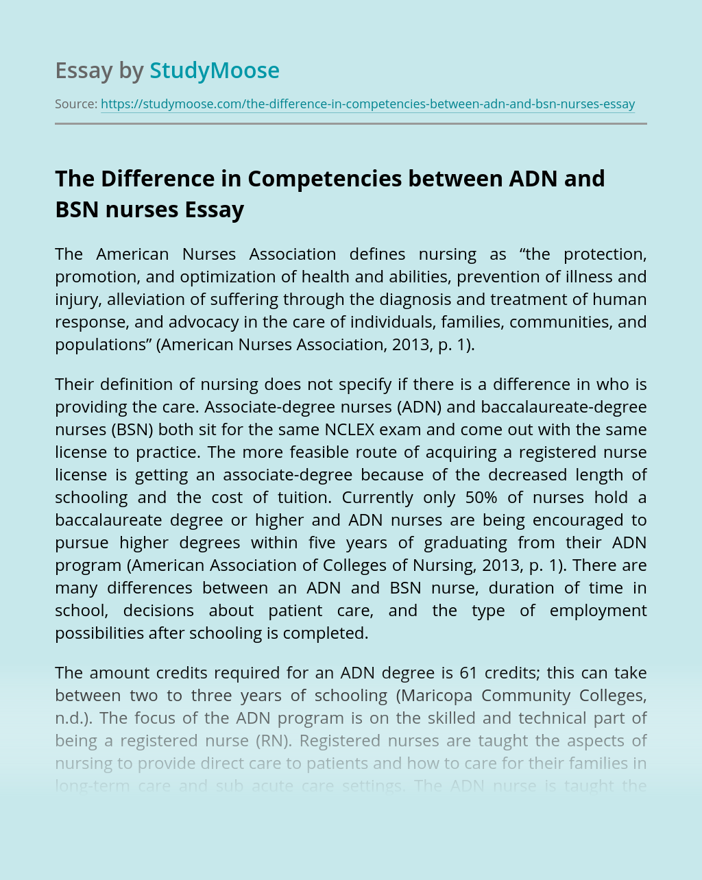 The Difference in Competencies between ADN and BSN nurses