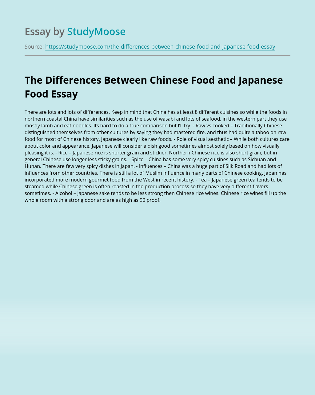 The Differences Between Chinese Food and Japanese Food