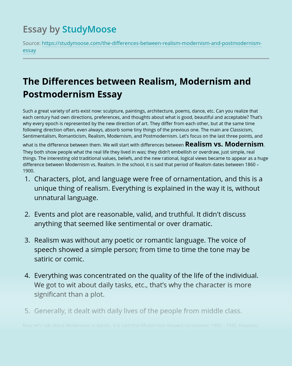 The Differences between Realism, Modernism and Postmodernism