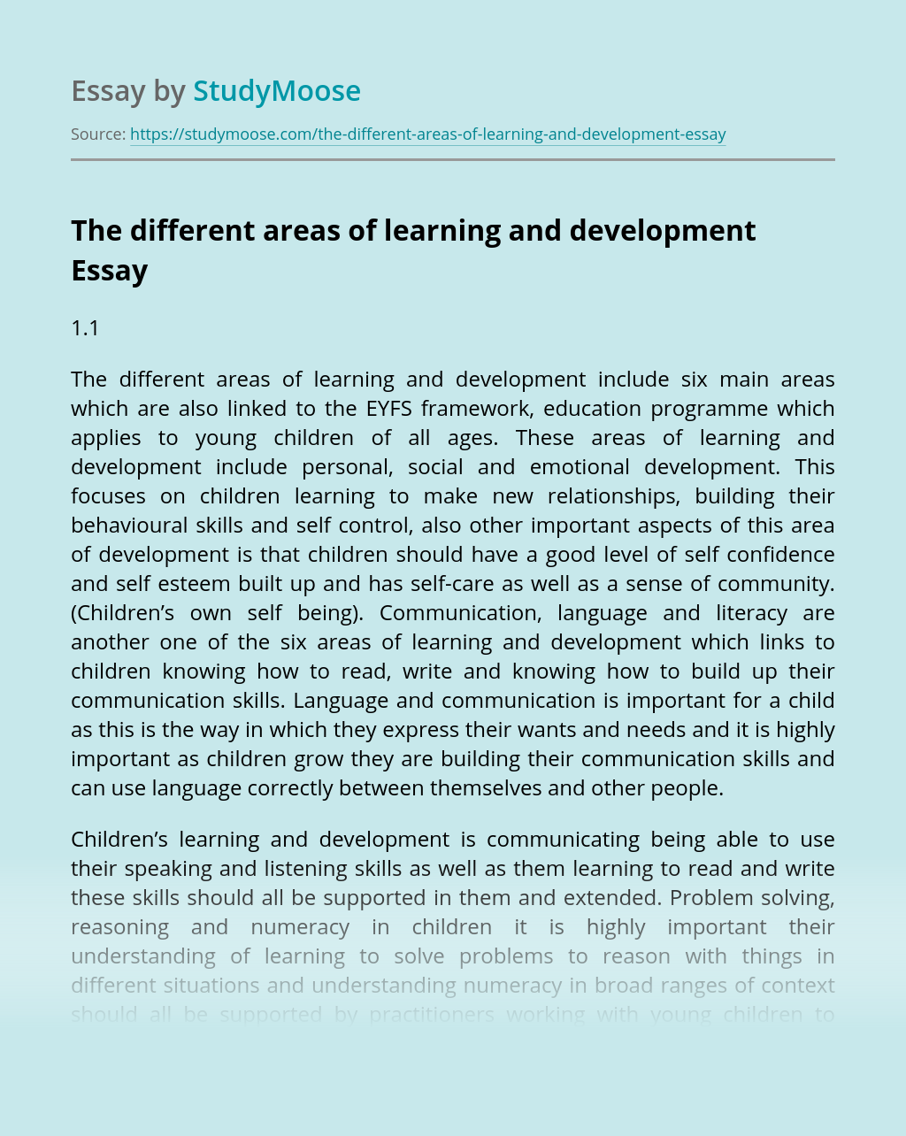 The different areas of learning and development