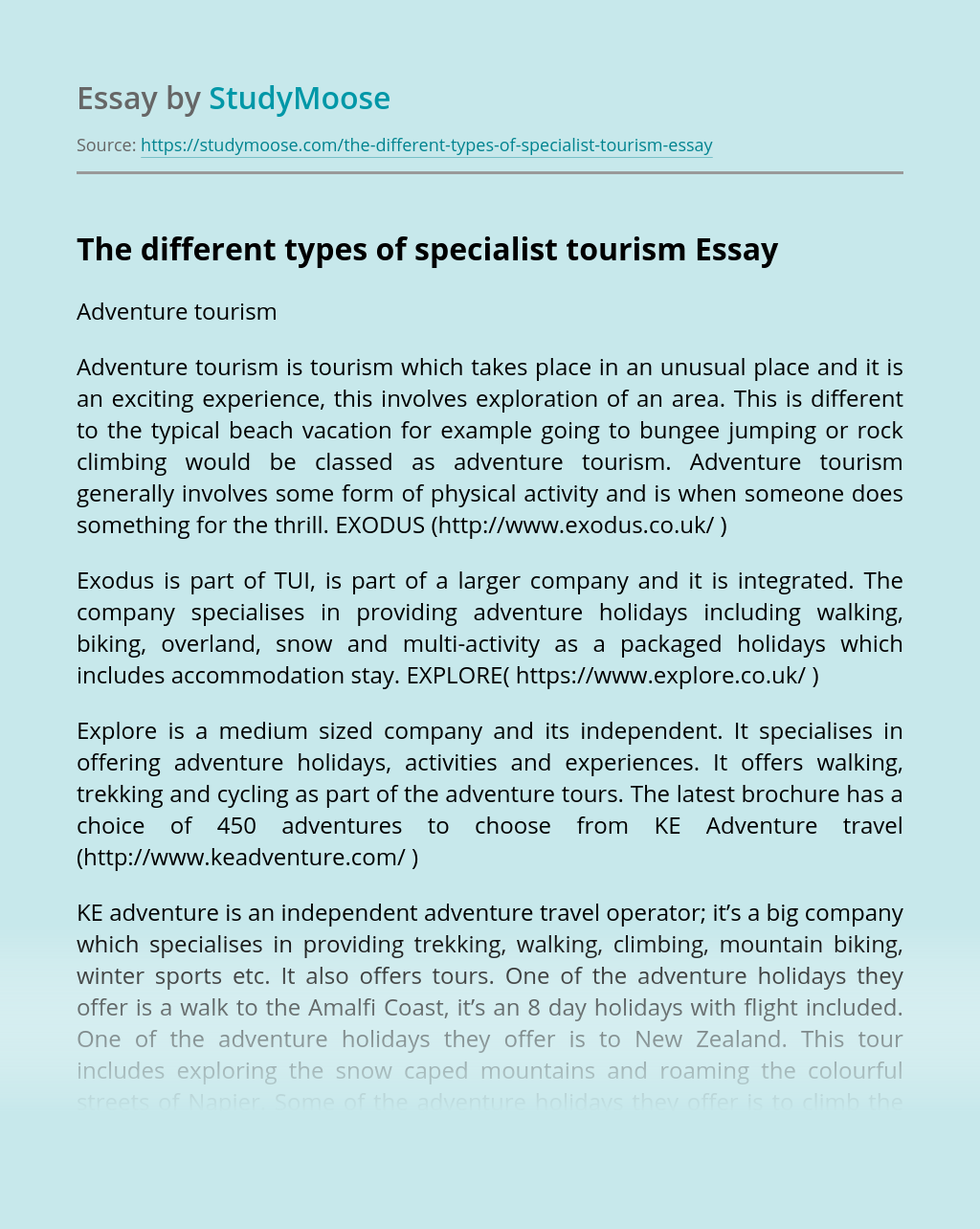 The different types of specialist tourism