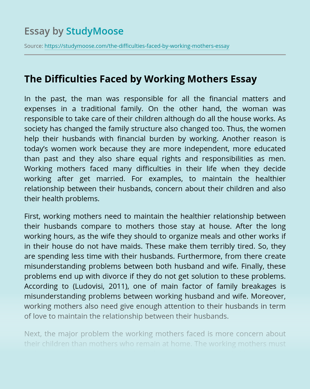 The Difficulties Faced by Working Mothers