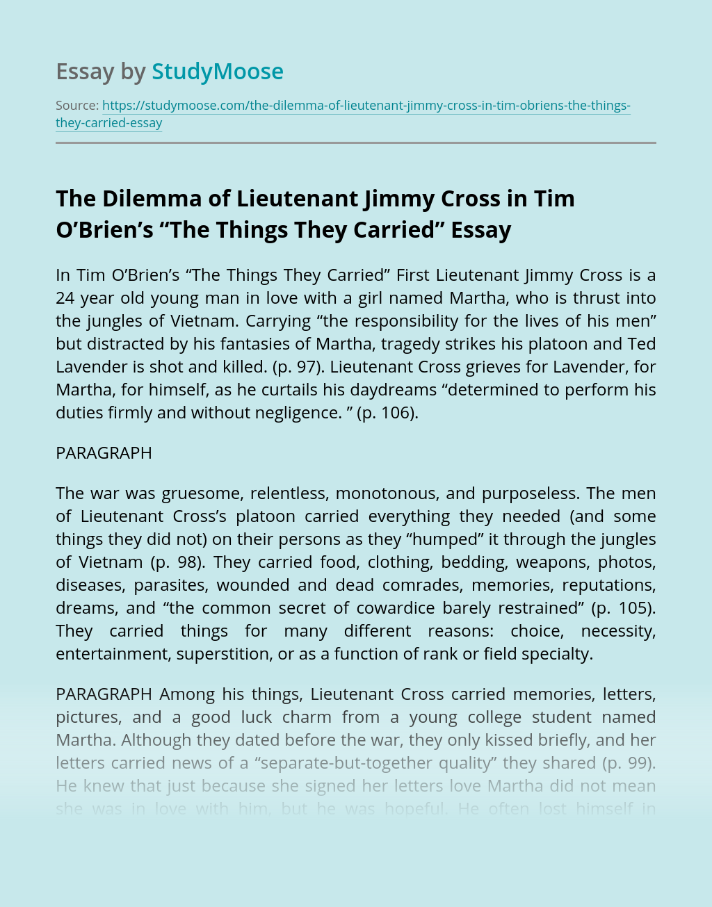 "The Dilemma of Lieutenant Jimmy Cross in Tim O'Brien's ""The Things They Carried"""
