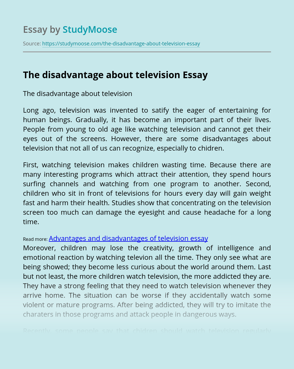 The disadvantage about television