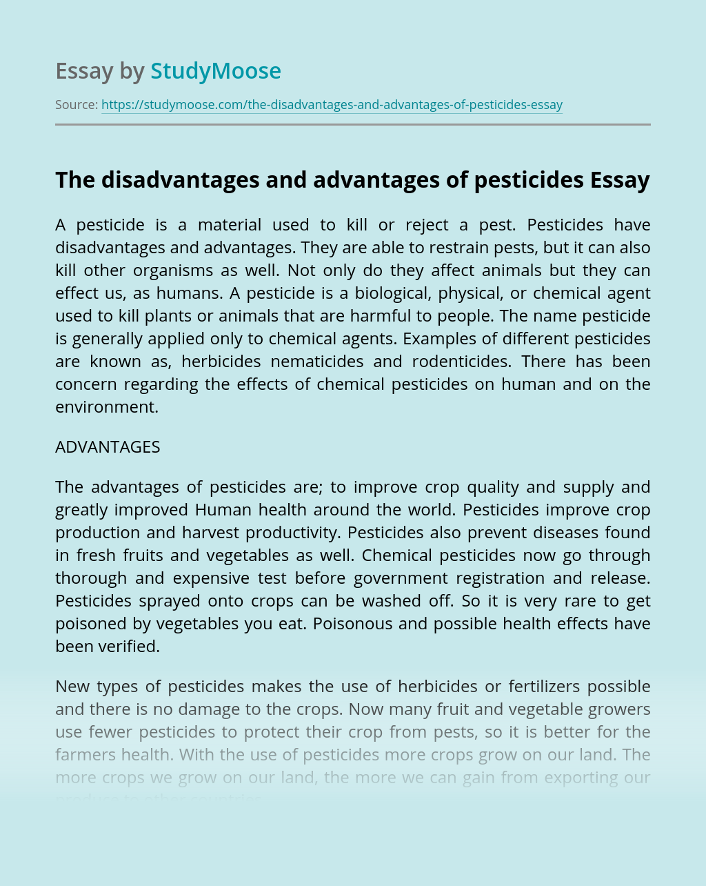 The disadvantages and advantages of pesticides