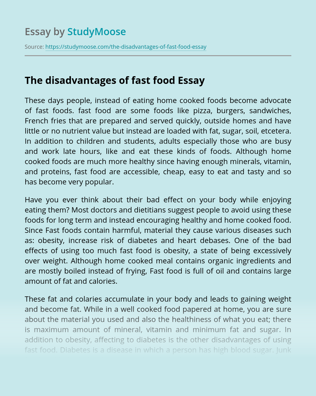 The disadvantages of fast food