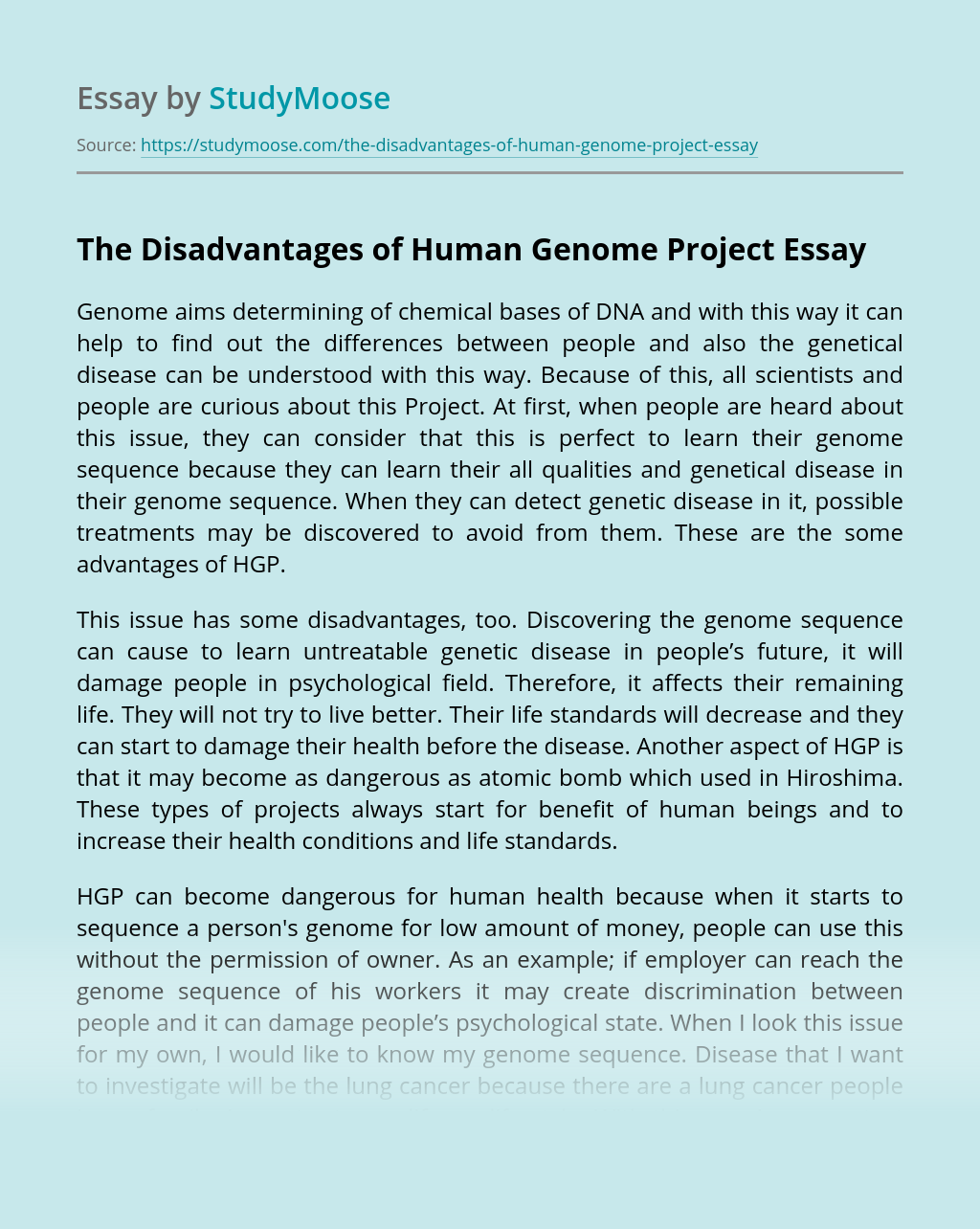 The Disadvantages of Human Genome Project