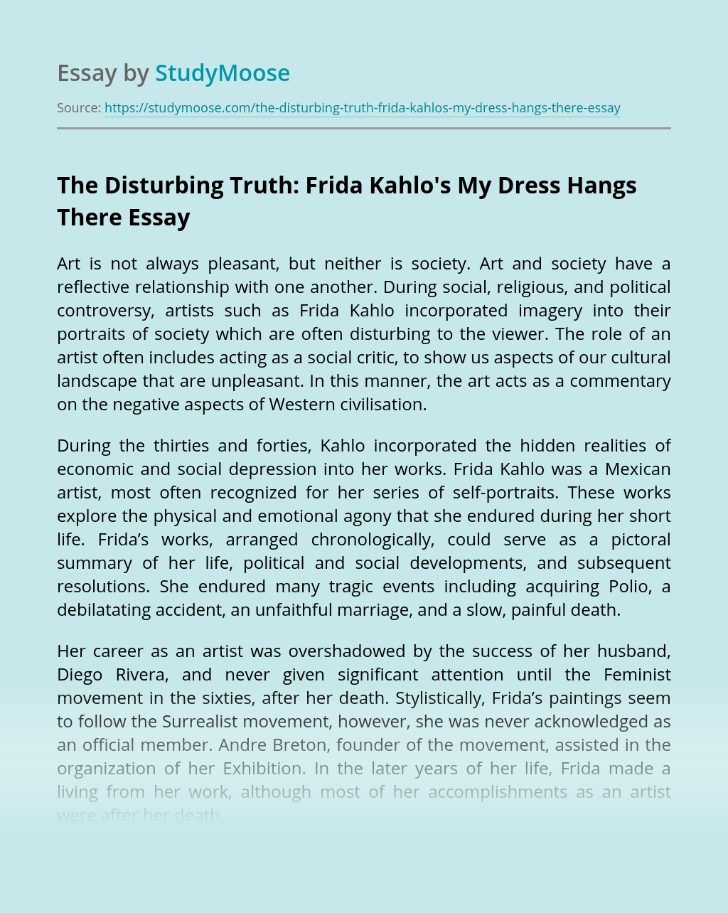 The Disturbing Truth: Frida Kahlo's My Dress Hangs There