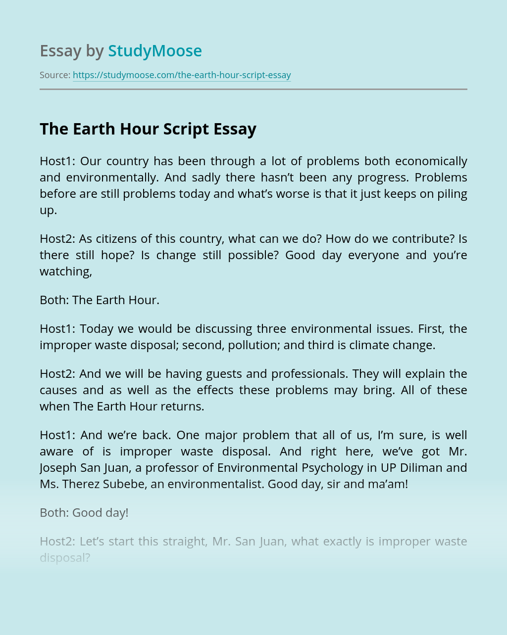The Earth Hour Script