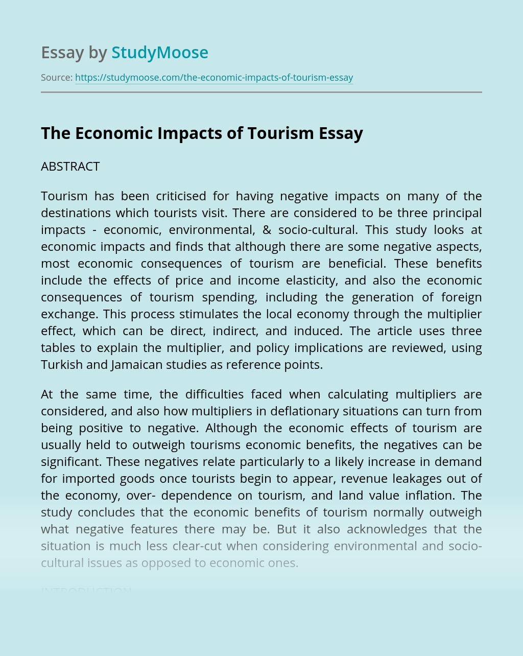 The Economic Impacts of Tourism