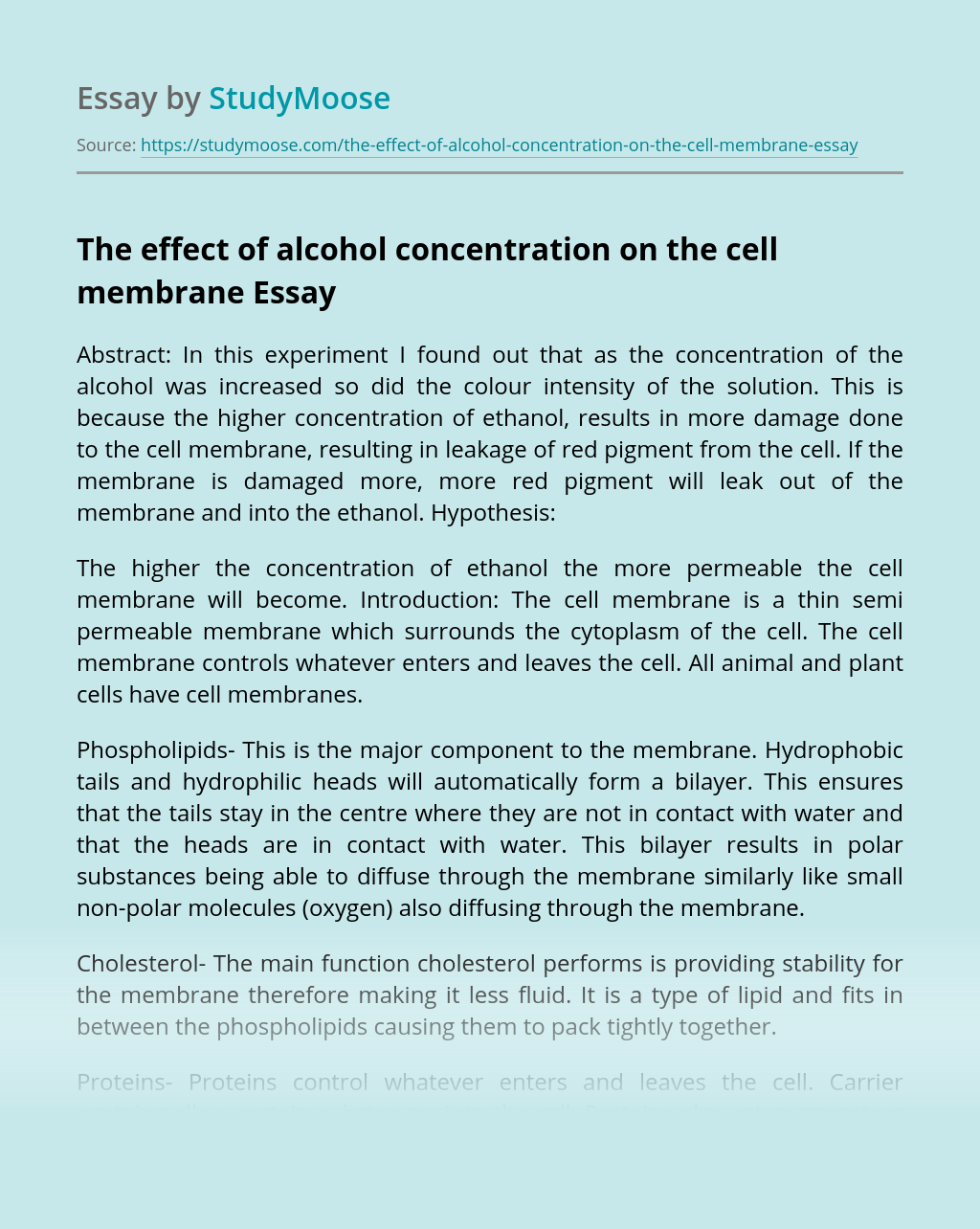 The effect of alcohol concentration on the cell membrane