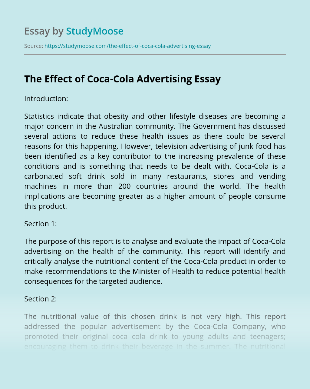 The Effect of Coca-Cola Advertising